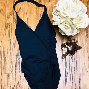 NWT Anne Cole Black One Piece Luxury Swimsuit